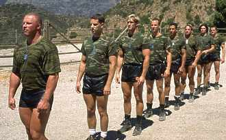 US Army soldiers on parade in boots and shorts